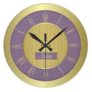 Purple grape and gold large clock