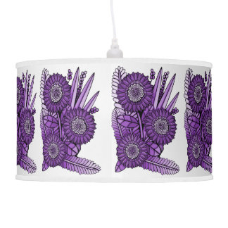 Purple Grape Gerbera Daisy Flower Bouquet Pendant Lamp