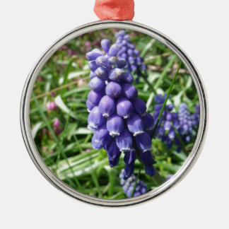 Purple Grape Hyacinth Flower Muscari Silver-Colored Round Ornament