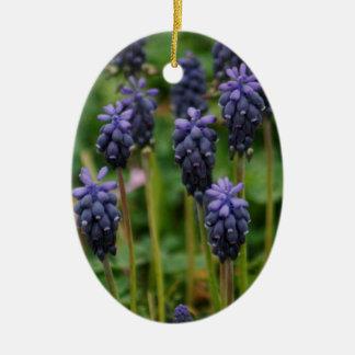 Purple Grape Hyacinth Wildflowers Ceramic Oval Ornament