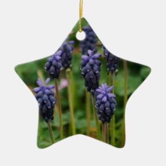 Purple Grape Hyacinth Wildflowers Ceramic Star Ornament