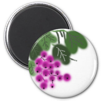 purple grapes and green leaves 2 inch round magnet