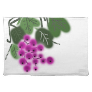 purple grapes and green leaves placemat