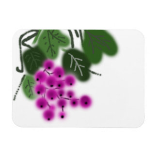 purple grapes and green leaves rectangular photo magnet