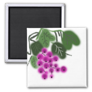 purple grapes and green leaves square magnet