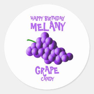 Purple Grapes Happy Birthday Round Sticker