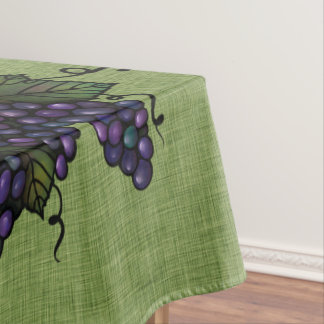 "Purple Grapes, Lovely Cotton Tablecloth, 52""x70"" Tablecloth"
