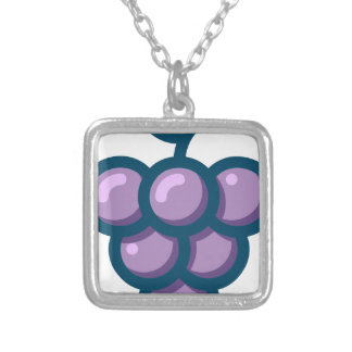 Purple Grapes Silver Plated Necklace