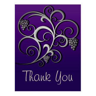 Purple Grapevine & Grapes Retro Fine Art Postcard