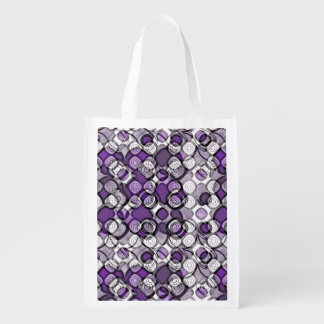 Purple, Gray and White Abstract Black Circles Reusable Grocery Bag