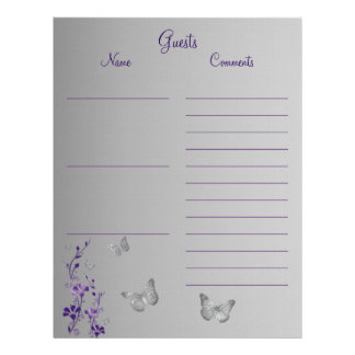 Purple Gray Butterfly Floral Guest Book Paper