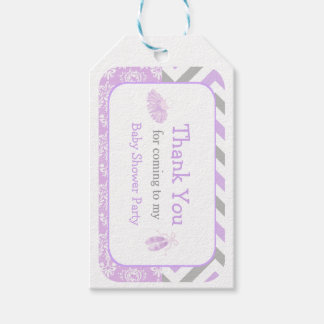 Purple & Gray Chevron Ballerina Thank You Gift Tag