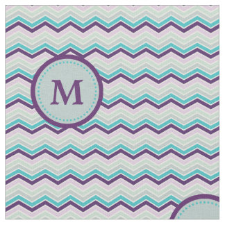 Purple Gray Chevron Monogram Fabric
