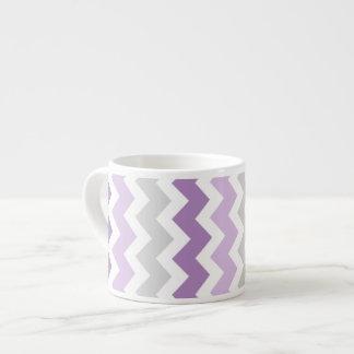 Purple Gray Chevrons Pattern Espresso Mug