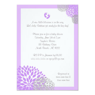 Purple Gray Dahlia Baby Shower Invite with feet
