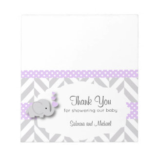 Purple & Gray Elephant Baby Shower | Candy Toppers Notepad