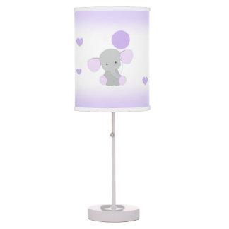 Purple Gray Elephant Nursery Baby Girl Safari Table Lamp