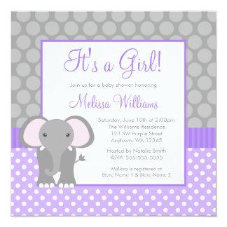"Purple Gray Elephant Polka Dot Girl Baby Shower 5.25"" Square Invitation Card"