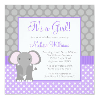 Purple Gray Elephant Polka Dot Girl Baby Shower Card