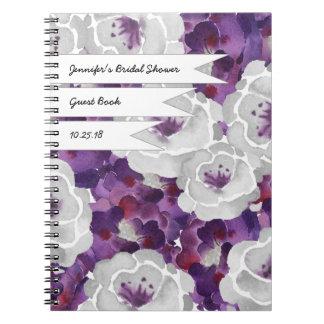 Purple Gray Floral Bridal shower guest book