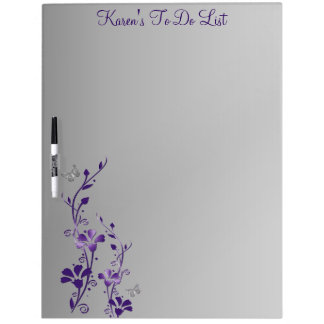 Purple, Gray Floral To Do List Dry Erase Board