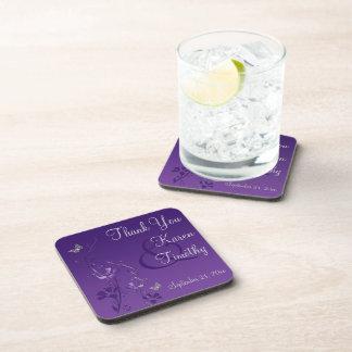 Purple Gray Floral Wedding Coaster Set (6)