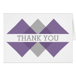 Purple Gray Geometric Triad Thank You Card
