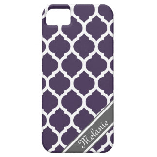 Purple & Gray Lattice Custom Name Case For The iPhone 5