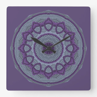 Purple Gray Mandala Clocks