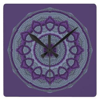 Purple Gray Mandala Square Wall Clock