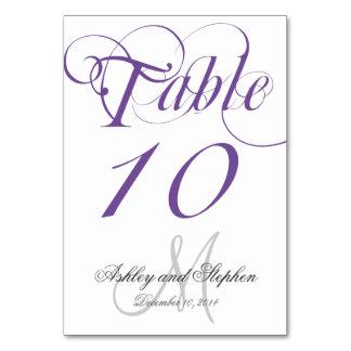 Purple Gray Monogram Wedding Table Number Card