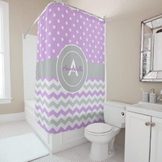 Purple Gray Polka Dot Chevron