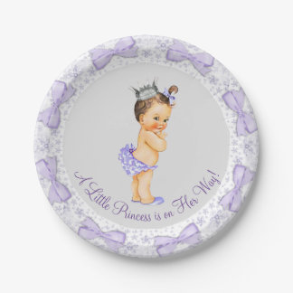 Purple Gray Princess Baby Shower Paper Plate