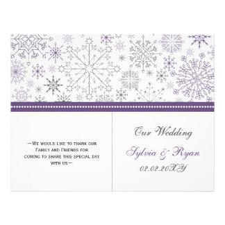 purple gray snowflake bi fold Wedding program