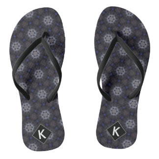 Purple & Gray Stained Glass Kaleidoscope Flip Flops