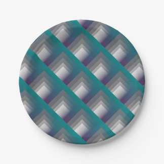 purple gray teal paper plate