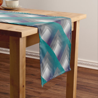 purple gray teal short table runner