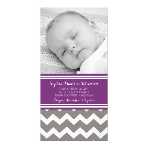 Purple Gray Thank You Baby Shower Photo Cards