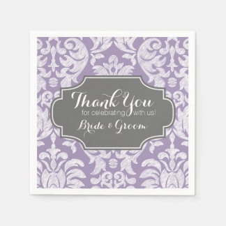 Purple Gray Vintage Damask Wedding Thank you Paper Napkins