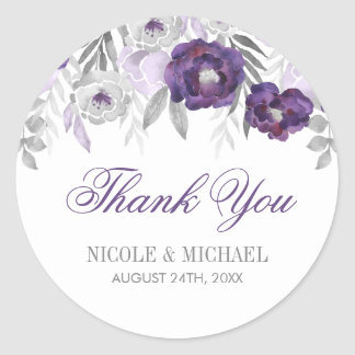 Purple Gray Watercolor Flowers Wedding Thank You Classic Round Sticker