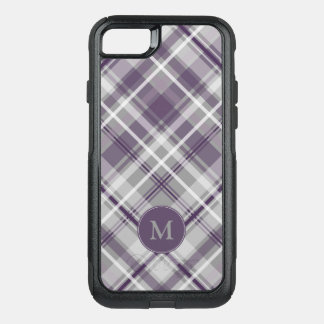 purple gray white plaid pattern monogrammed OtterBox commuter iPhone 8/7 case