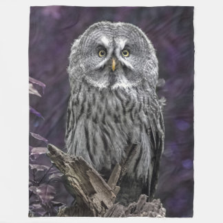 Purple Great Grey Owl Blanket