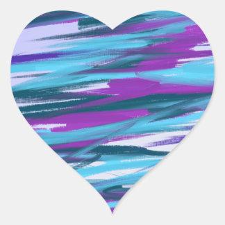Purple & Green Abstract Art Heart Sticker