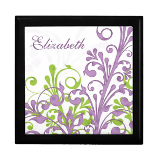 Purple Green Abstract Floral Personalized Gift Box