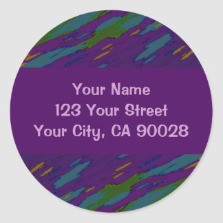 purple green abstract round stickers