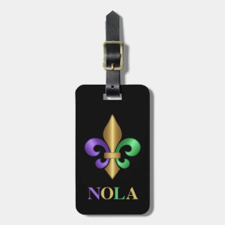 Purple Green and Gold Mardi Gras Fleur de Lis Luggage Tag