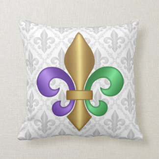 Purple Green and Gold Mardi Gras Fleur de Lis Throw Pillow