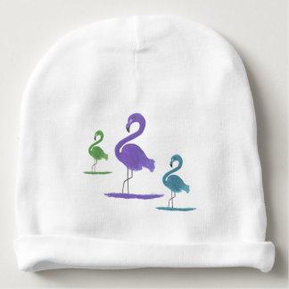 Purple, Green, and Teal Flamingos Art Baby Beanie