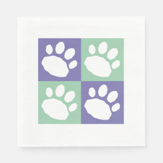 Purple, Green, and White Animal Print Silhouette Paper Napkin