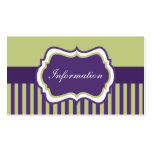 Purple, Green, and White Damask Enclosure Card Business Cards